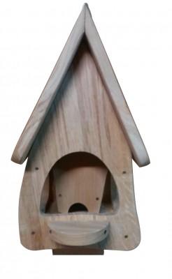 Futterhaus mit Silo - Futtervilla klein Eiche Natur