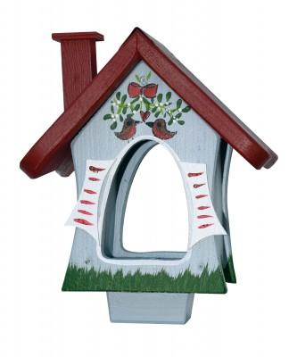 """Futterhaus """"Waldhütte mit Mistelzweig"""" stehend"""