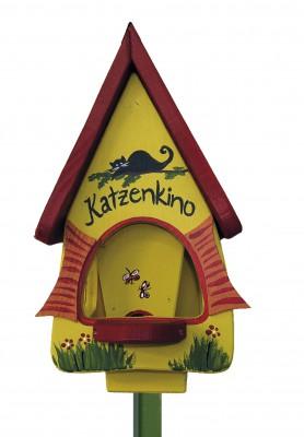 Futterhaus mit Silo - Futtervilla klein Katzenkino gelb