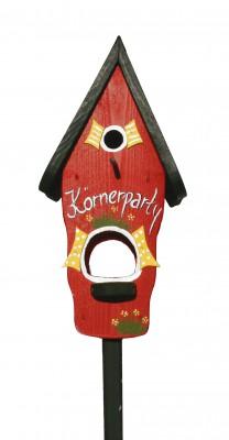Kombiniertes Vogelhaus - Minivilla 1 Körnerparty rot