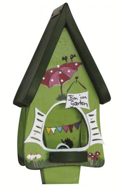 Futterhaus mit Silo - Futtervilla mini Gartenlaube kiwigrün