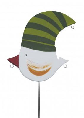 Knödelvogel groß, Mütze grün - gestreift