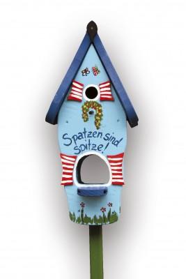 Kombiniertes Vogelhaus - Minivilla 1 Spatzen sind spitze hellblau