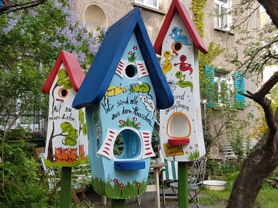 Kombiniertes Vogelhaus - Minivilla 1 Mäuse hellblau - personalisiert