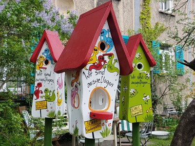 Kombiniertes Vogelhaus - Minivilla 1 Gespenster weiß - personalisiert