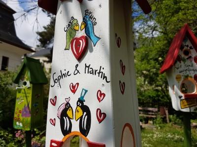 """Minivilla 2 """"Liebesnest 2 Raben 2 Vögel mit Katze"""" weiß - personalisiert"""