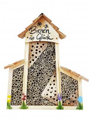 """Bienenhotel groß mit Anbau """"Bienen Glück"""" mit Lamellendach"""