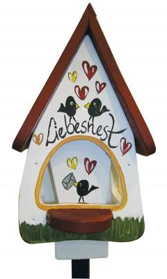Futterhaus mit Silo - Futtervilla klein Liebesnest Brief weiß
