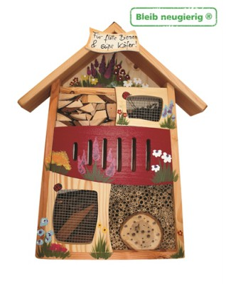"""Insektenquartier """"Flotte Bienen"""" bemalt Rot"""