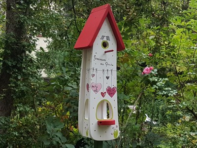 Kombiniertes Vogelhaus - Minivilla 2 Gemeinsam ins Glück! - personalisiert