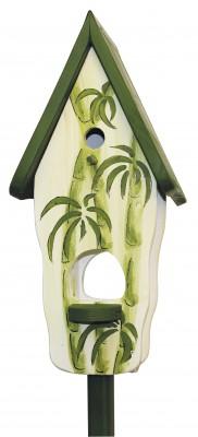Kombiniertes Vogelhaus - Minivilla 1 Wellness mit Bambus weiss-grün