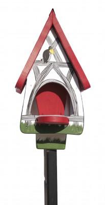 Futterhaus mit Silo - Futtervilla klein Fachwerk weiß