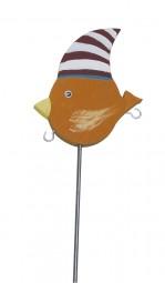 Knödelvogel klein, Mütze rot-weiß gestreift