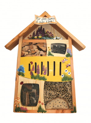 "Insektenhaus ""Insektenquartier Für flotte Bienen & süße Käfer"" bemalt"