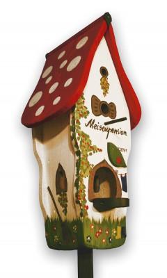 """Kombiniertes Vogelhaus """"Villa Meisenpension"""" weiß"""