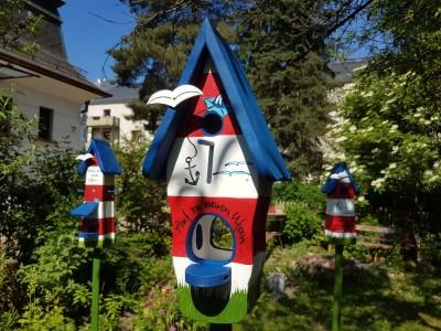 Kombiniertes Vogelhaus - Minivilla 1 Auf zu neuen Ufern - personalisiert