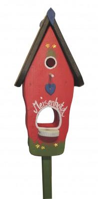 Kombiniertes Vogelhaus - Minivilla 1 Meisenhotel rot