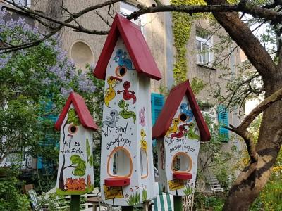 Kombiniertes Vogelhaus - Minivilla 2 Gespenster weiß - personalisiert