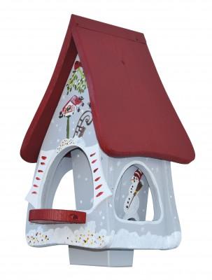 Futterhaus mit Silo - Futtervilla klein Winterzauber grau