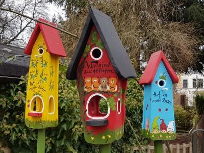 Kombiniertes Vogelhaus - Minivilla 1 Eulen rot - personalisiert