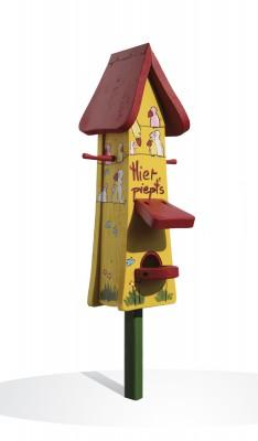 Futterhaus mit Silo - Futtertürmchen Hier piept's gelb