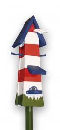 Futtertürmchen Spezial Leuchtturm, rot-weiß, blaues Dach