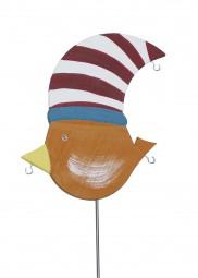 Knödelvogel groß, Mütze rot-weiß gestreift