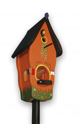 Kombiniertes Vogelhaus - Minivilla 1 Hier piept's orange