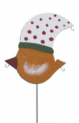 Knödelvogel groß, Mütze weiß-rot gepunktet