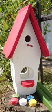 Kombiniertes Vogelhaus - Minivilla 1 Kreativ mit 6 Farben, 1xPinsel, 1xEdding