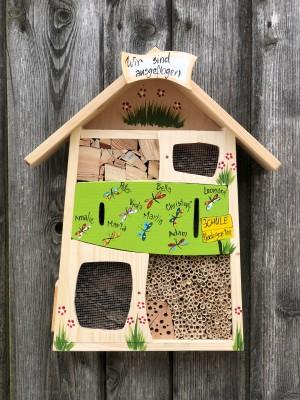 Insektenquartier kiwigrün mit Schmetterlingen - personalisiert