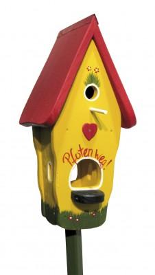 Kombiniertes Vogelhaus - Minivilla 1 Pfoten weg gelb