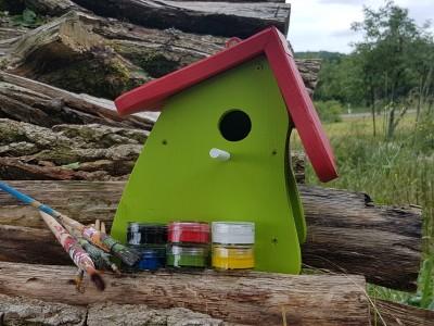 Nistkasten - Nistmini Kreativ mit Farben Pinsel & Edding
