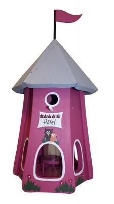Turmhotel klein 5 Sterne Eulen mit Silo himbeer