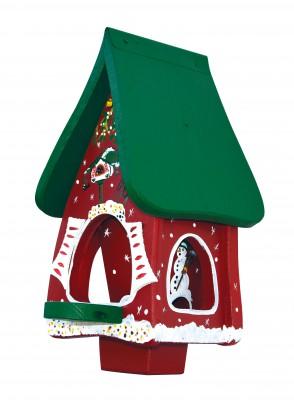 Futterhaus mit Silo - Futtervilla Mini Winterzauber rot