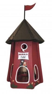 """Kombiniertes Vogelhaus """"Turmhotel klein 5 Sterne Eulen"""" mit Silo"""