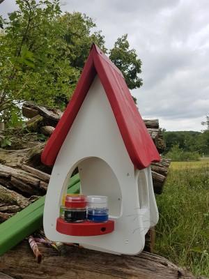Futterhaus mit Silo - Futtervilla klein Kreativ mit 6 Farben, 1xPinsel, 1xEdding