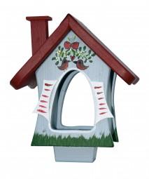 Futterhaus - Waldhütte mit Mistelzweig - stehend - grau