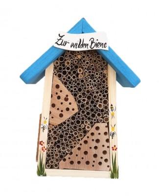 Bienenhotel klein mit Schild farbiges Dach
