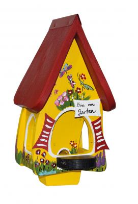 """Futtervilla Mini """"Gartenzauber"""" Gelb Bin im Garten"""