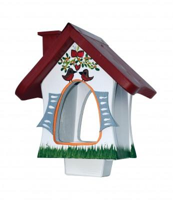 Futterhaus - Waldhütte mit Mistelzweig - stehend - weiß