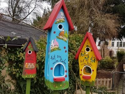 Kombiniertes Vogelhaus - Minivilla 2 Zwerge hellblau - personalisiert