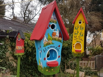 Kombiniertes Vogelhaus - Minivilla 1 Zwerge hellblau - personalisiert