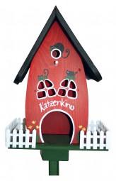 Zaunvilla Katzenkino stehend, rot
