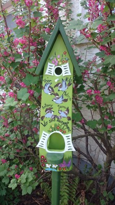 Kombiniertes Vogelhaus - Minivilla 2 Spatzen kiwi - personalisiert